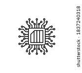 chip nanotech icon. simple line ...