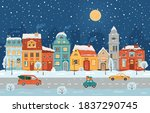 Winter Night City In Retro...