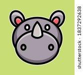 Cute Rhino Animal Cartoon Design