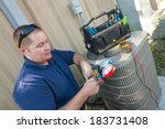 air conditioner repair man. ... | Shutterstock . vector #183731408
