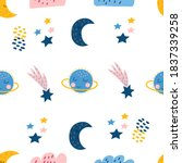 Seamless Pattern With Cute Blue ...