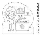 cartoon veterinarian treats the ... | Shutterstock .eps vector #1837374742