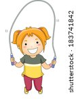 illustration of a little girl... | Shutterstock .eps vector #183741842