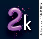 2k sign violet balloons with... | Shutterstock .eps vector #1837421035