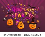halloween party greeting banner ... | Shutterstock .eps vector #1837421575