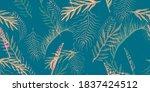 tropical leaves hand. seafoam... | Shutterstock . vector #1837424512