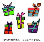 collection of various gifts on... | Shutterstock .eps vector #1837441402