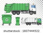garbage truck on a transparent... | Shutterstock .eps vector #1837444522