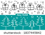 set of christmas elements   ... | Shutterstock .eps vector #1837445842