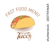 sketch image of tacos in the... | Shutterstock .eps vector #1837454665