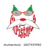 funny santa claus in glasses... | Shutterstock .eps vector #1837455982