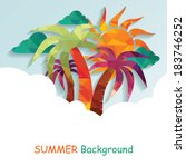 summer background with palms | Shutterstock .eps vector #183746252