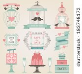 vintage collection of vector... | Shutterstock .eps vector #183748172