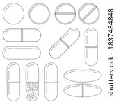 pills and capsules line art... | Shutterstock .eps vector #1837484848