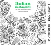 italian food menu sketches.... | Shutterstock .eps vector #1837486045