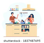 happy mother  father and... | Shutterstock .eps vector #1837487695