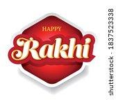 happy rakhi festive sign on red ... | Shutterstock .eps vector #1837523338