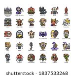 set of halloween thin line and... | Shutterstock .eps vector #1837533268
