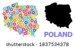 vector mosaic map of poland... | Shutterstock .eps vector #1837534378