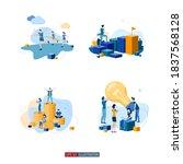 trendy flat illustration set.... | Shutterstock .eps vector #1837568128