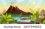volcano eruption cartoon vector ...
