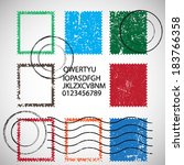 vector set of stamps and... | Shutterstock .eps vector #183766358