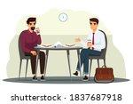business people having lunch in ... | Shutterstock .eps vector #1837687918