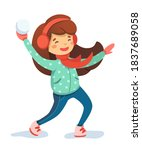 Girl Playing Snowball Cartoon...