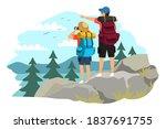couple trekking on mountain.... | Shutterstock .eps vector #1837691755