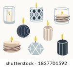 Set Of Burning Candles. Hand...