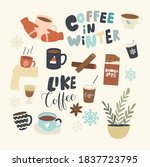 Set Of Icons Coffee In Winter...