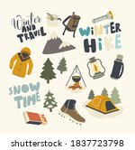 set of icons winter hike theme. ... | Shutterstock .eps vector #1837723798