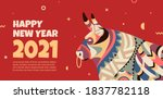 beautiful banner with a bull in ... | Shutterstock .eps vector #1837782118