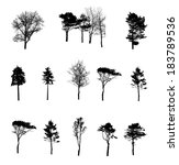 set of tree silhouette isolated ... | Shutterstock .eps vector #183789536