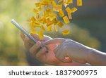 man hand using smartphone with... | Shutterstock . vector #1837900975