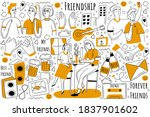 friendship doodle set....   Shutterstock .eps vector #1837901602