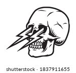 tattoo template of skull with... | Shutterstock .eps vector #1837911655