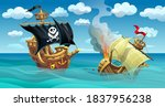 battle of sailing ships. a... | Shutterstock .eps vector #1837956238