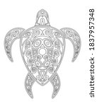 turtle coloring book for... | Shutterstock .eps vector #1837957348