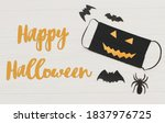 happy halloween text on evil... | Shutterstock . vector #1837976725