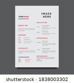 corporate resume design...   Shutterstock . vector #1838003302