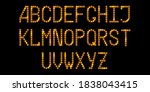 led  font with neon gold...   Shutterstock .eps vector #1838043415
