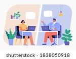 working at home. virtual...   Shutterstock .eps vector #1838050918