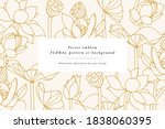 vintage card with lotus flowers.... | Shutterstock .eps vector #1838060395