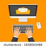 businessman opens or creates...   Shutterstock .eps vector #1838063488