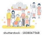 hospital  wheelchair grandma ... | Shutterstock . vector #1838067568