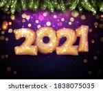 golden foil balloon 2021 sign...   Shutterstock .eps vector #1838075035
