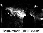 Dark Silhouette Of A Man In A...