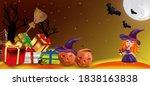 characters halloween pumpkins ... | Shutterstock .eps vector #1838163838