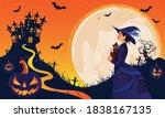 halloween fullmoon banner ... | Shutterstock .eps vector #1838167135